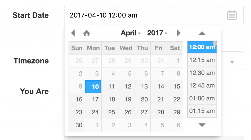 One-month calendar with list of times showing for chosen date.