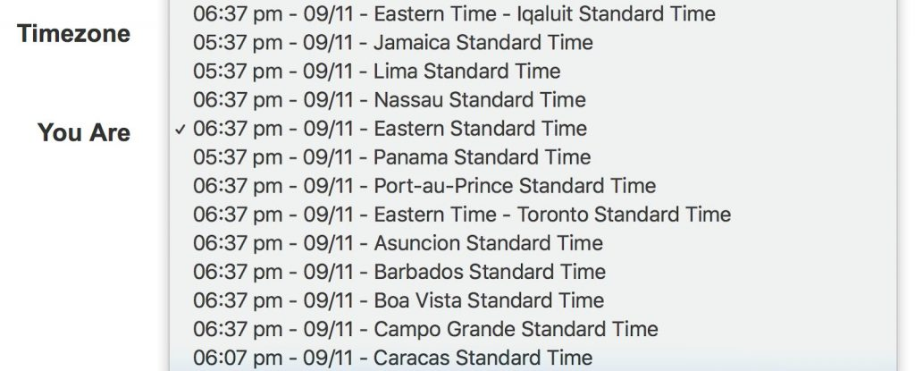 List of time zones with time listed first and a selected time for EST.