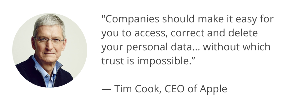 """Photo of Tim Cook andquote: """"Companies should make it easy for you to access, correct and delete your personal data... without which trust is impossible."""""""