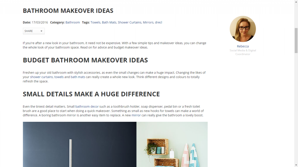 """Screenshot of Jysk blog post with information on """"budget bathroom makeover ideas"""" and """"small details make a huge difference."""""""