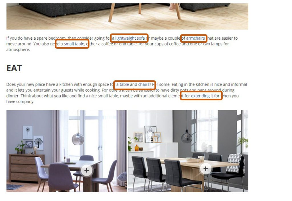 """Specific words are highlighted to show that they are links to product pages. For example, """"table and chairs"""" and """"lightweight sofas"""" are highlighted links."""
