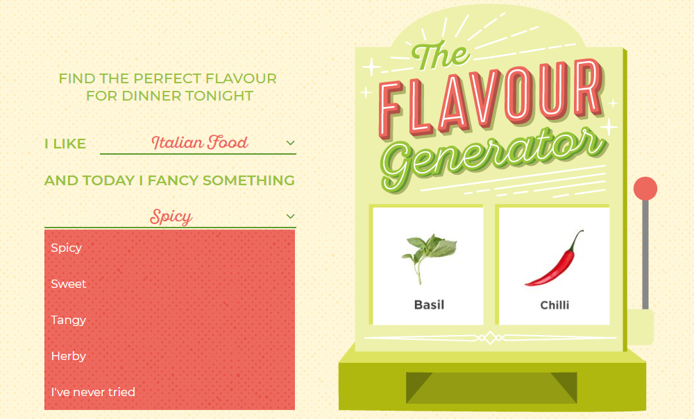 """Screenshot of The Flavour Generator: The inputs displayed are """"I like *Italian Food* and today I fancy something *Spicy* (from options Spicy, Sweet, Tangy, Herby, and I've never tried)."""""""