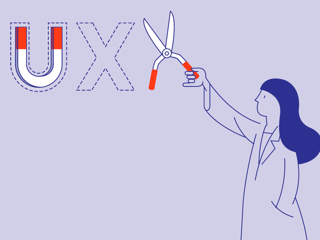 """A drawing of a scientist holding cutting shears up to """"UX"""" with """"U"""" represented as a magnet. The """"UX"""" has a dotted outline around each letter."""