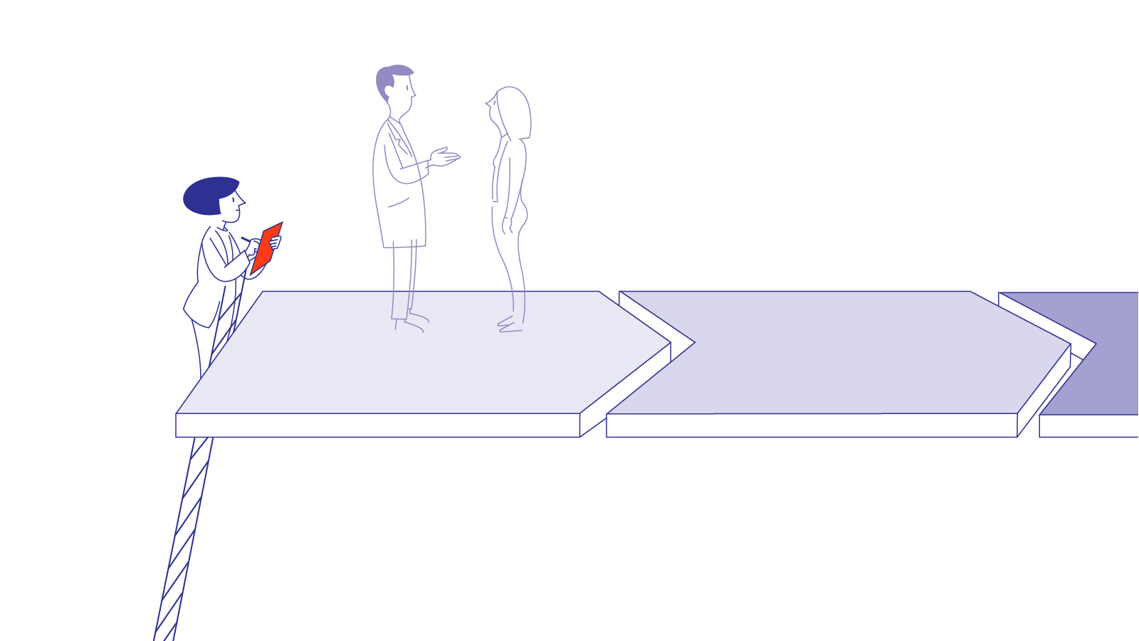 A depiction of a woman standing on a ladder with a clipboard taking notes as she observes a doctor and a patient having a conversation. The doctor and patient are standing on an arrow-shaped platform showing process movement.