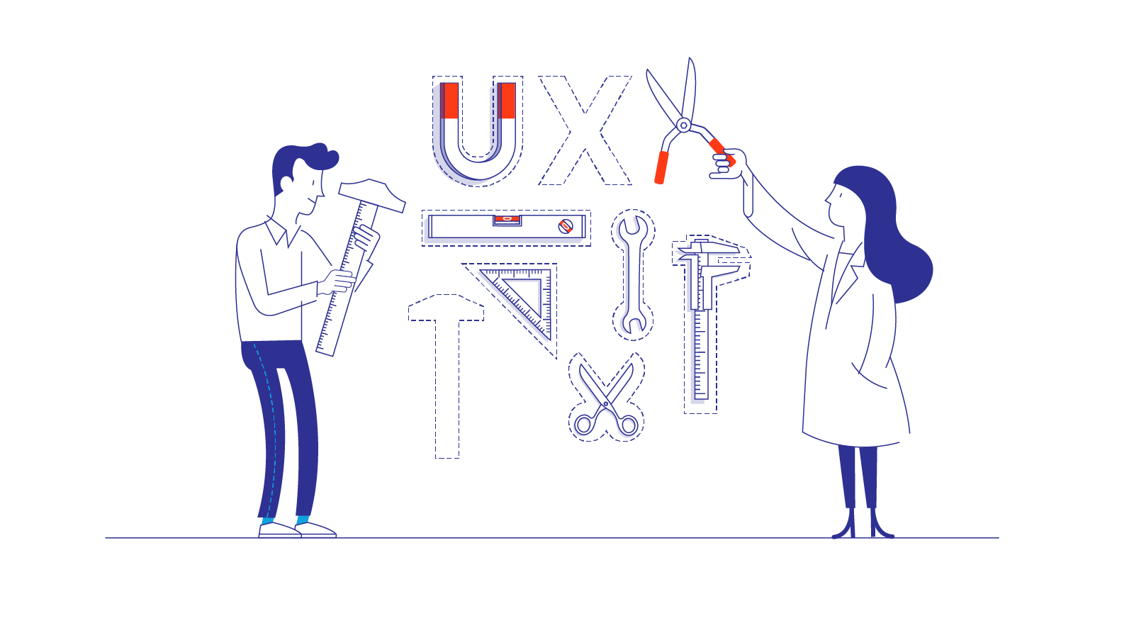 """Two researchers place various physical tools near """"UX"""""""