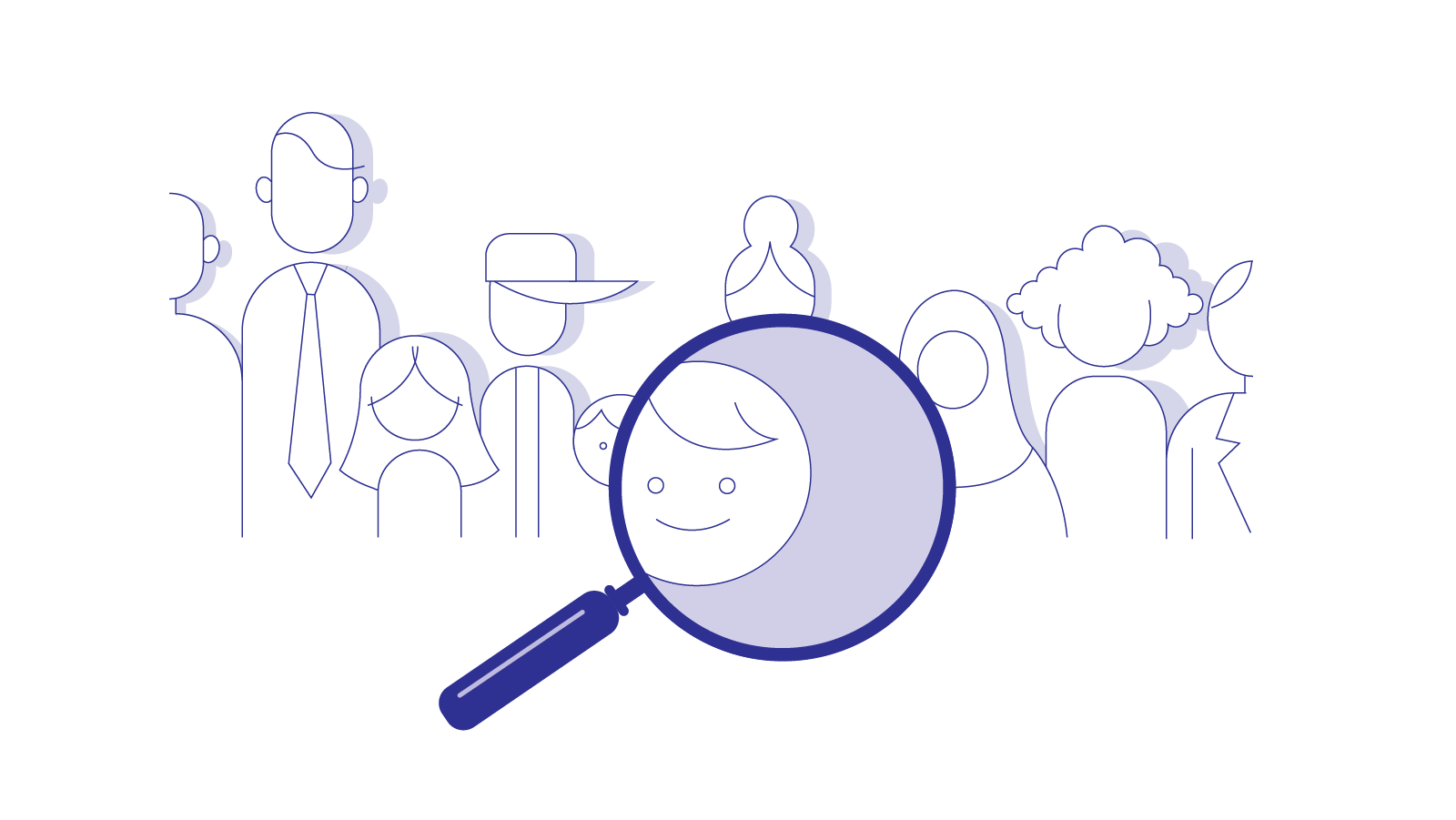 A magnifying glass reveals the face of a single individual among a crowd of many faces.