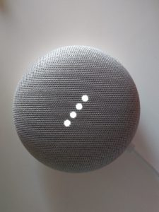 Image of an activated Google Home Mini device.