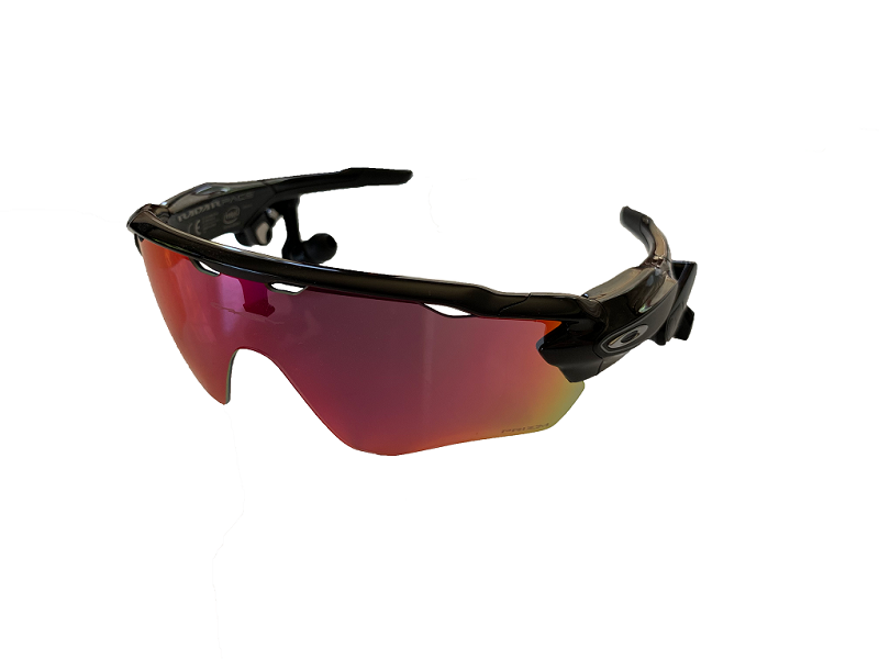 Image of Radar Pace sunglasses that have earbuds connected to the frames.