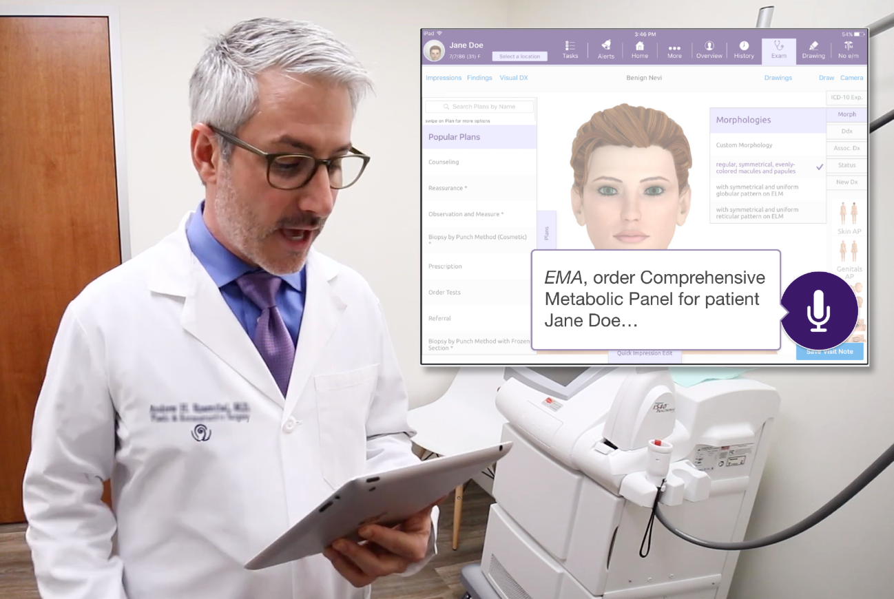 Photo of a physician in an examining room recording patient information on a tablet; there is a subset screenshot of a medical record with a microphone symbol.