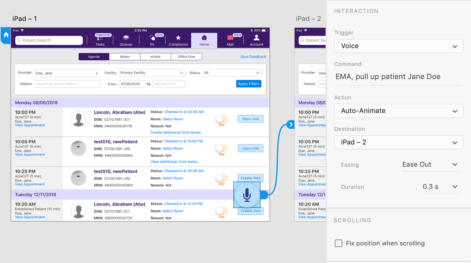 Screenshot of setting up voice triggers and commands using Adobe XD