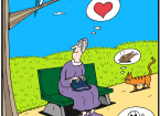 Cartoon showing a lady sitting on a bench and enjoying a bird's song; cat thinking of the bird as food; and worm thinking of the bird as danger.