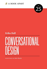 book with red cover and white title saying Conversational Design