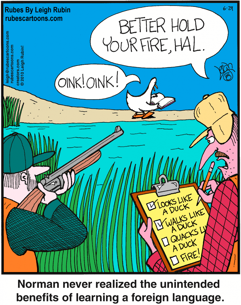 """Cartoon with two hunters looking at a duck. One is about to shoot at it, the other one has a checklist saying """"Looks like a duck, walks like a duck, quacks like a duck, Shoot! At this time the duck reads from a book """"Oink oink"""""""