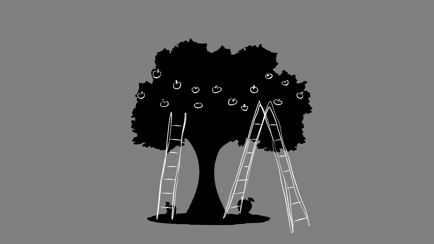 A drawing of an apple tree with fruit hanging in the middle of the tree and ladders placed to access that fruit.