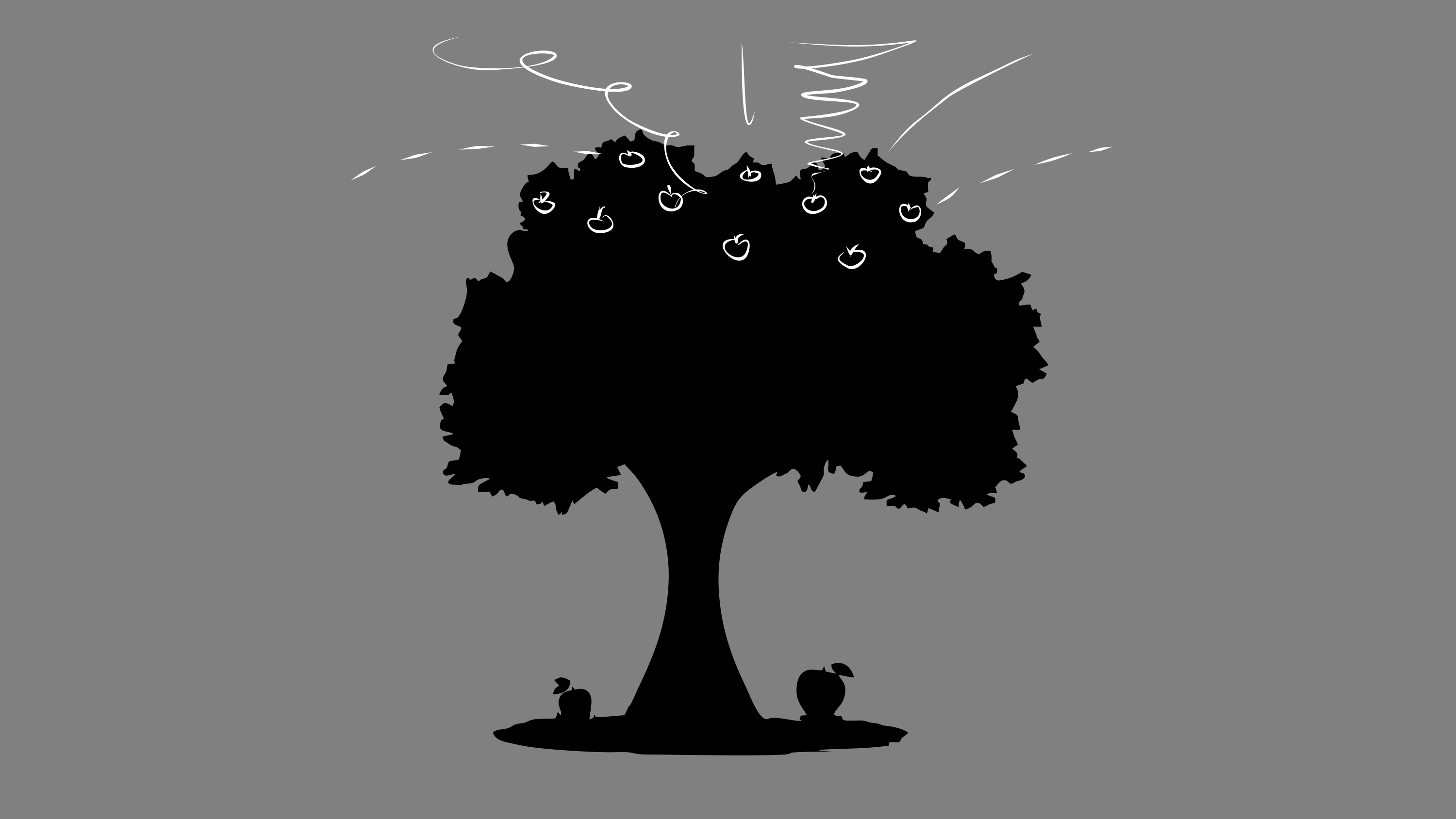 A drawing of an apple tree with fruit at the top of the tree.