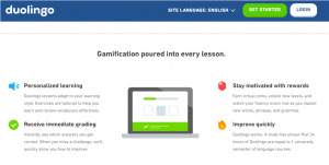 Screenshot of gamification strategy: personalized learning, receive immediate grading, and motivation through rewards.