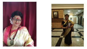 Two photos of a woman: In one she is wearing traditional clothes and in the second she is holding a trophy.