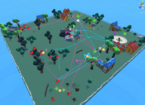 Example map of a game level featuring fenced in green space with buildings, trees, rocks, and so on. There are colored lines depicting the paths each AI-agent has taken and their engagements with point of interest (such as enemies and collectables).