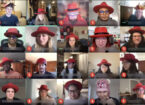 Screenshot of a remote video call including 20 Red Hatters, or people in red hats.